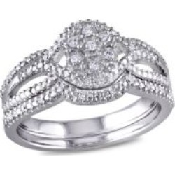 0.14 TCW Diamond and Sterling Silver Bridal Ring Set