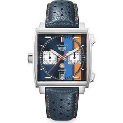 TAG Heuer Women's Monaco 39MM Calibre 11 Gulf Special Edition Stainless Steel Automatic Chronograph Watch - Silver