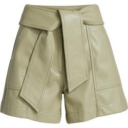 Jonathan Simkhai Women's Mari Vegan Leather Tie-Waist Shorts - Eucalyptus - Size 12 found on MODAPINS from Saks Fifth Avenue for USD $345.00