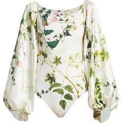 Adriana Iglesias Women's Nube Wildflower Stretch-Silk Puff-Sleeve Bodysuit - Wildflower - Size 42 (10) found on MODAPINS from Saks Fifth Avenue for USD $567.00