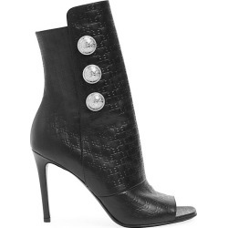 Balmain Women's Oslo Monogram-Embossed Leather Peep-Toe Ankle Boots - Noir - Size 38 (8) found on MODAPINS from Saks Fifth Avenue for USD $447.75