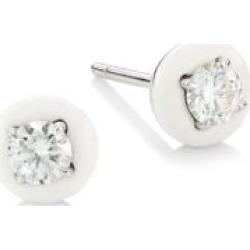 Diamonds In 18K White Gold, Diamond & White Ceramic Stud Earrings