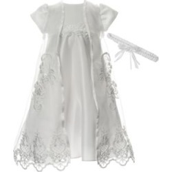 Christening Gown with Removable Embroidered Sheer Overlay with Floral Headband
