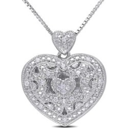 Collier en argent sterling avec médaillon en forme de caur et diamants 0,08 ct