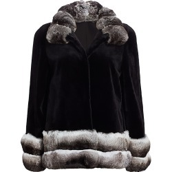 The Fur Salon Women's Chinchilla-Trimmed Sheared Mink Jacket - Black Natural - Size XS found on Bargain Bro India from Saks Fifth Avenue for $9995.00
