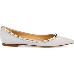 Valentino Garavani Women's Rockstud Point-Toe Leather Ballerina Flats - Pastel Grey - Size 40 (10) found on Bargain Bro Philippines from Saks Fifth Avenue for $775.00