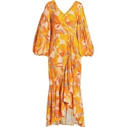Acler Women's Gallion Flounce Wrap Dress - Golden Abstract - Size 6 found on MODAPINS from Saks Fifth Avenue for USD $168.00