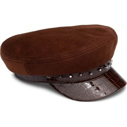 Eugenia Kim Women's Marina Studded Croc-Embossed & Suede Newsboy Cap - Cognac found on MODAPINS from Saks Fifth Avenue for USD $265.00