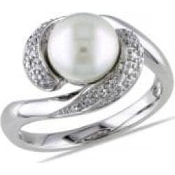 Bague torsadée en argent sterling avec diamants 0,1 ct PT et perle blanche