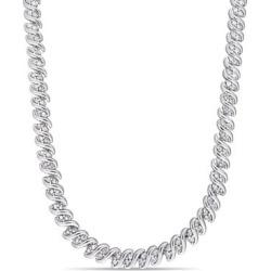 Collier rivière à effet torsadé en argent sterling Silver Diamond avec diamants 2 ct PT