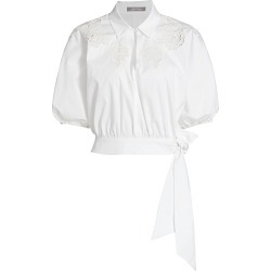 Lela Rose Women's Pointelle Floral Poplin Tie-Hem Top - White - Size 6 found on MODAPINS from Saks Fifth Avenue for USD $237.00