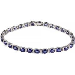 Bracelet En Or Blanc 14 K Avec Diamants 0,32 Ct Pt Et Saphir De Ceylan