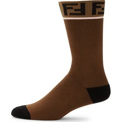 Fendi Men's Double-F Logo Trim Socks - Chocolate - Size M/L found on MODAPINS from Saks Fifth Avenue for USD $150.00
