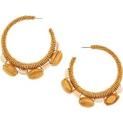 Oscar de la Renta Women's Wood Bead Wrapped Half Loop Post Earrings - Tan found on Bargain Bro Philippines from Saks Fifth Avenue for $370.00