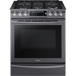 NX58K9500WG/AC - Cuisinière à gaz en acier inoxydable noir de 5,8 pi³ avec double brûleur de 18 000 BTU