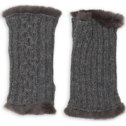Agnelle Women's Victoire Rabbit Fur-Lined Fingerless Gloves - Grey found on MODAPINS from Saks Fifth Avenue for USD $33.50