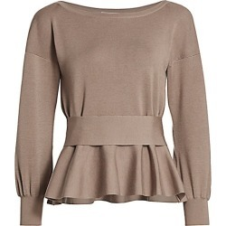 Agnona Women's Wool Blend Peplum Sweater - Stone - Size Large found on MODAPINS from Saks Fifth Avenue for USD $1690.00