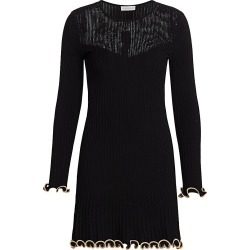 ML Monique Lhuillier Women's Metallic Knit Long-Sleeve Dress - Jet Gold Combo - Size Medium found on MODAPINS from Saks Fifth Avenue for USD $395.00