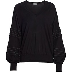 Brunello Cucinelli Women's Monili Puff-Sleeve Knit Sweater - Black - Size XS found on Bargain Bro Philippines from Saks Fifth Avenue for $2150.00
