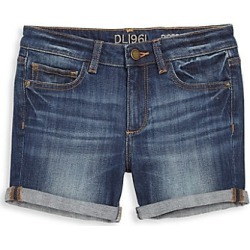 DL1961 Premium Denim Girl's Piper Cuffed Denim Shorts - Sea Lion - Size 7