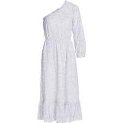 ML Monique Lhuillier Women's One-Shoulder Eyelet Midi Dress - White Cornflower Combo - Size 2 found on MODAPINS from Saks Fifth Avenue for USD $297.00
