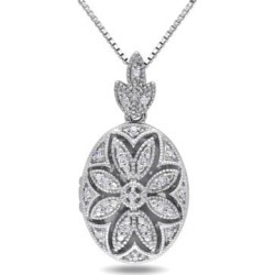 .10 CT Diamond and Sterling Silver Floral Locket Necklace