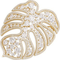 Adriana Orsini Women's Naturally 18K Yellow Goldplated Sterling Silver & Cubic Zirconia Monstera Pin - Gold