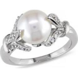 Bague avec feuilles en argent sterling avec diamants 0,1 ct PT et perle blanche