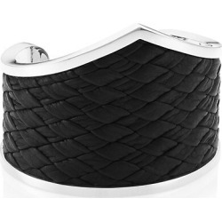 Armor Sterling Silver & Woven Leather Cuff