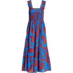 Figue Women's Luella Crane Print Midi Dress - Flying Crane Amalfi Blue - Size Medium-Large found on MODAPINS from Saks Fifth Avenue for USD $297.00