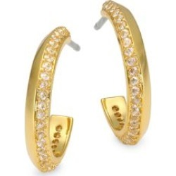 Raise The Bar 12K Yellow Goldplated & Cubic Zirconia Pavé Huggie Hoop Earrings
