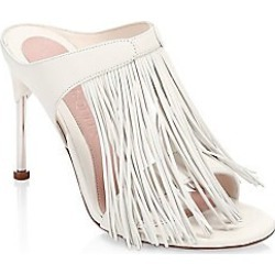 Alexander McQueen Women's Leather Fringe Mules - Ivory Silver - Size 35 (5) found on MODAPINS from Saks Fifth Avenue for USD $790.00