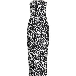 Brandon Maxwell Women's Strapless Jacquard Animal Print Tea-Length Dress - Black Beige - Size 4 found on MODAPINS from Saks Fifth Avenue for USD $1617.00