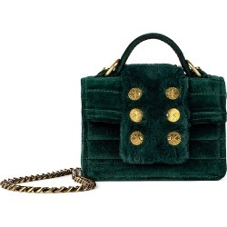 Kooreloo Women's Petite Faux Fur-Trimmed Velvet Top Handle Bag - Green found on MODAPINS from Saks Fifth Avenue for USD $395.00