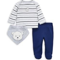 Baby Boy's 3-Piece Bear Cotton Lap Shoulder Shirt, Footed Pants & Bib Set