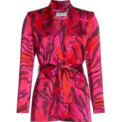 Adriana Iglesias Women's Duna Tiger-Print Stretch-Silk Jacket - Magenta Feline - Size 36 (4) found on MODAPINS from Saks Fifth Avenue for USD $1040.00