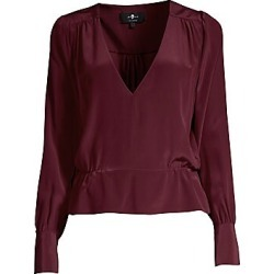 7 For All Mankind Women's Deep V-Neck Long Sleeve Top - Dark Merlot - Size Large found on MODAPINS from LinkShare USA for USD $107.40