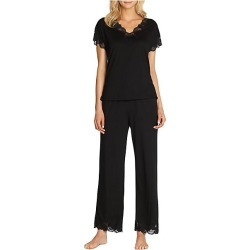 Natori Women's Zen Floral Jersey Pajamas - Black - Size Medium found on Bargain Bro Philippines from Saks Fifth Avenue for $150.00