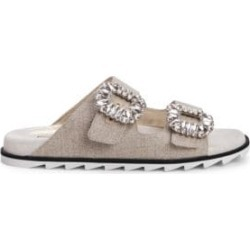Viv Crystal Buckle Linen Slide Sandals found on Bargain Bro India from Saks Fifth Avenue Canada for $763.91