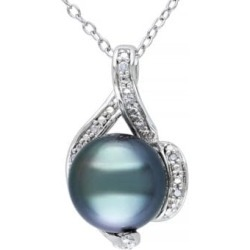 9-9.5mm Black Round Tahitian Cultured Pearl and Sterling Silver Swirl Necklace with 0.05TCW Diamonds
