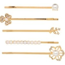 Cloud Nine 5-Piece Goldtone, Faux Acrylic Pearl & Crystal Pin Set found on MODAPINS from The Bay for USD $9.00
