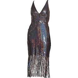 Dress The Population Women's Frankie Sequin Fringe Bodycon Midi Dress - Onyx - Size XL found on MODAPINS from LinkShare USA for USD $278.00