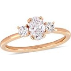 Diamond Bridal 14K Rose Gold and Oval Diamond 3-Stone Engagement Ring
