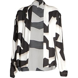 Dries Van Noten Women's Ribbon-Print Wrap Blouse - Black White - Size 40 (8-10) found on Bargain Bro Philippines from Saks Fifth Avenue for $640.00