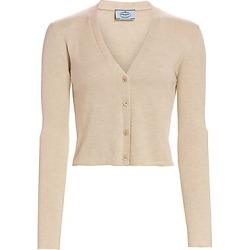 Prada Women's Long-Sleeve Crop Silk & Cashmere Cardigan - Albino Melange - Size 38 (2) found on Bargain Bro Philippines from Saks Fifth Avenue for $920.00