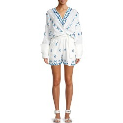 All Things Mochi Women's Self-Tie Wrap Romper - Off White - Size L found on MODAPINS from Saks Fifth Avenue OFF 5TH for USD $129.99