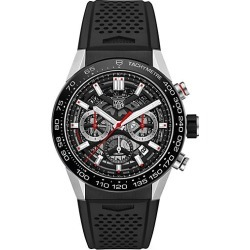 TAG Heuer Women's Carrera 45MM Stainless Steel & Ceramic Rubber Strap Automatic Chronograph Watch