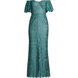 Aidan Mattox Women's Off-The-Shoulder Puff-Sleeve Petal Evening Gown - Light Green - Size 0 found on MODAPINS from Saks Fifth Avenue for USD $132.00