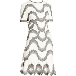 Alexander McQueen Women's Wave Printed A-Line Dress - Ivory Black - Size XS found on MODAPINS from Saks Fifth Avenue for USD $2375.00