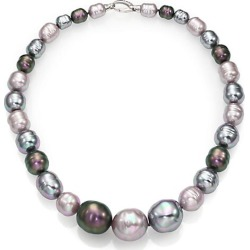 Majorica Women's 10MM-20MM Multicolor Baroque Pearl & Sterling Silver Graduated Strand Necklace/18